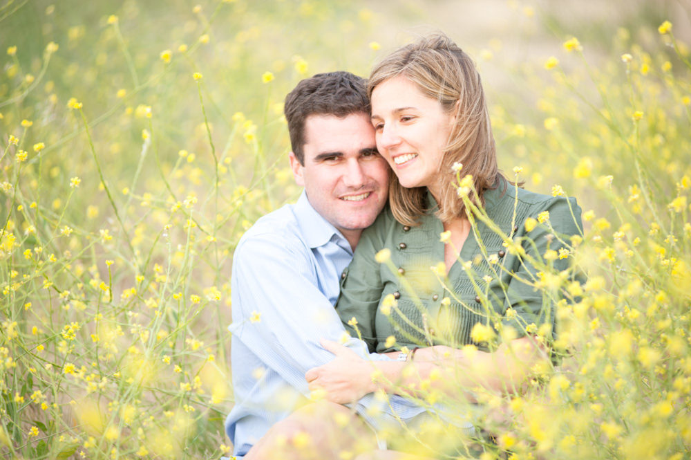 San Francisco Flower Field Engagement Portrait