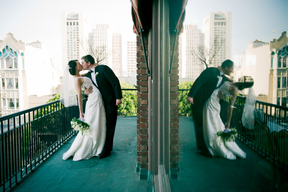 University Club SF Mirrored Wedding Portrait
