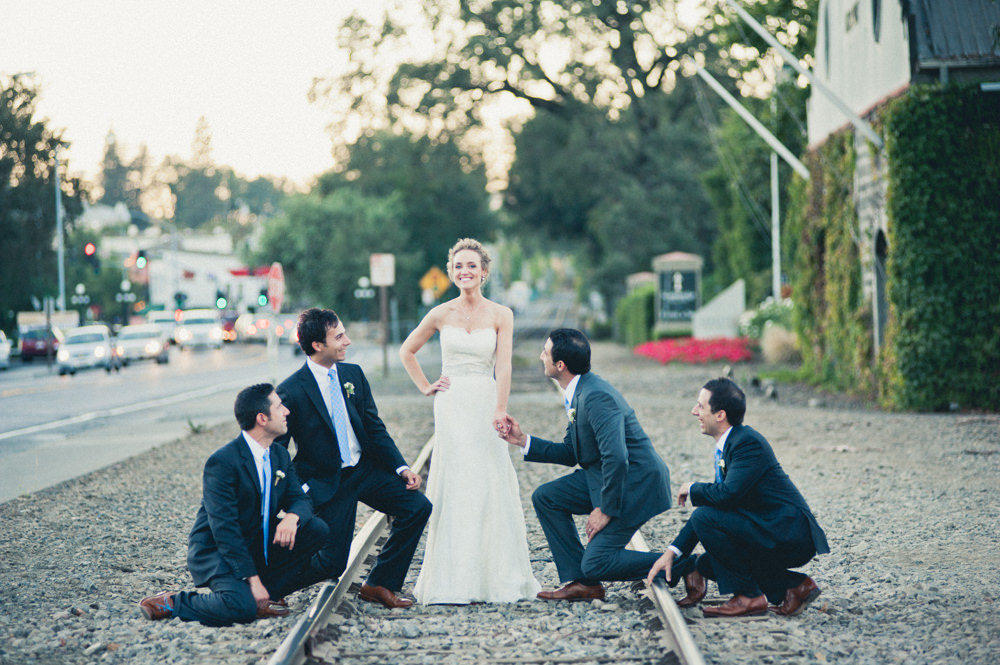 Napa Valley Train Track Wedding Party Portrait