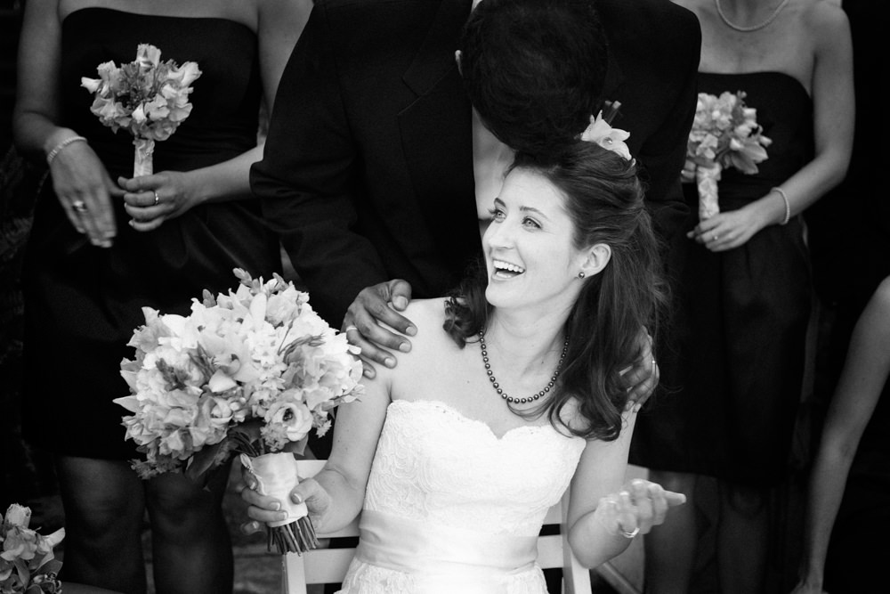 Surprised Bride Black and White Wedding Portrait