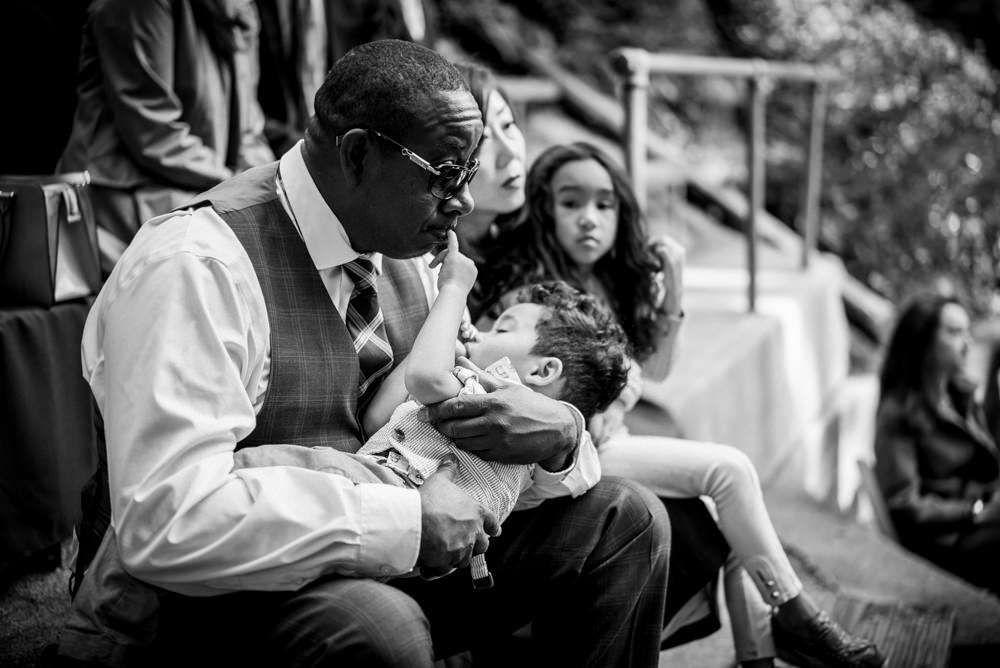 Black and white portrait of dad and son at Piedmont Community Hall wedding