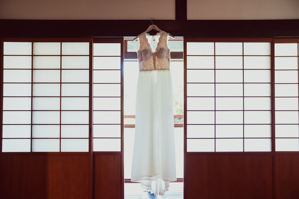 Wedding dress portrait in Japanese tea house at Piedmont Community Hall wedding