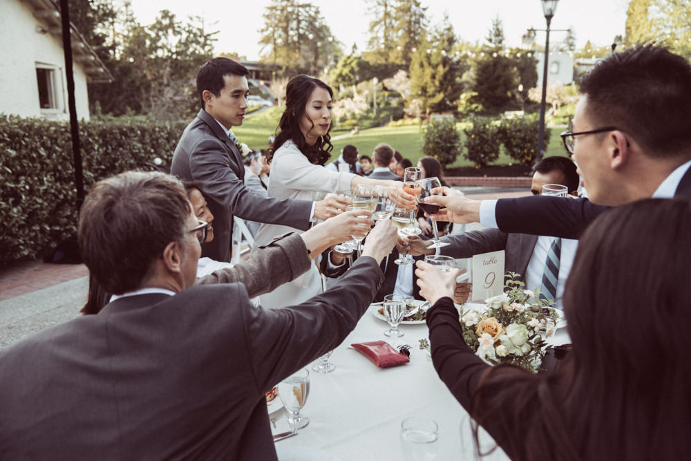 Bride and groom toasts table at Piedmont Community Hall wedding