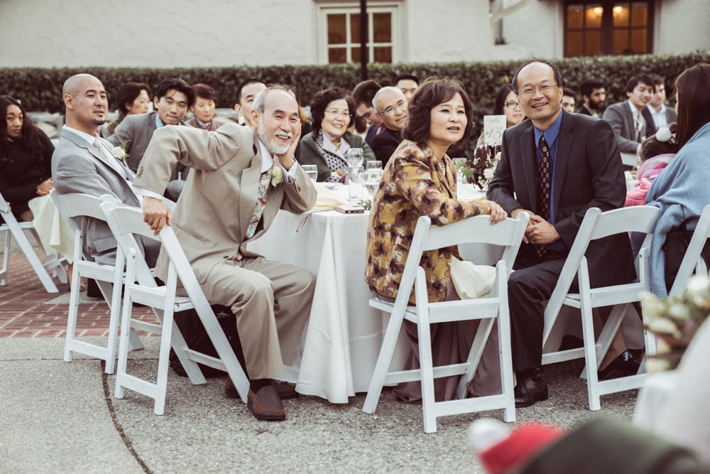 Parents watching toast at Piedmont Community Hall wedding