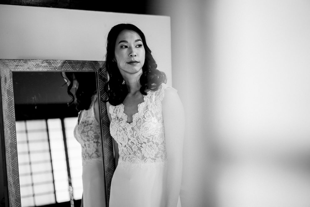 black and white portrait of bride before first look at Piedmont Community Hall wedding