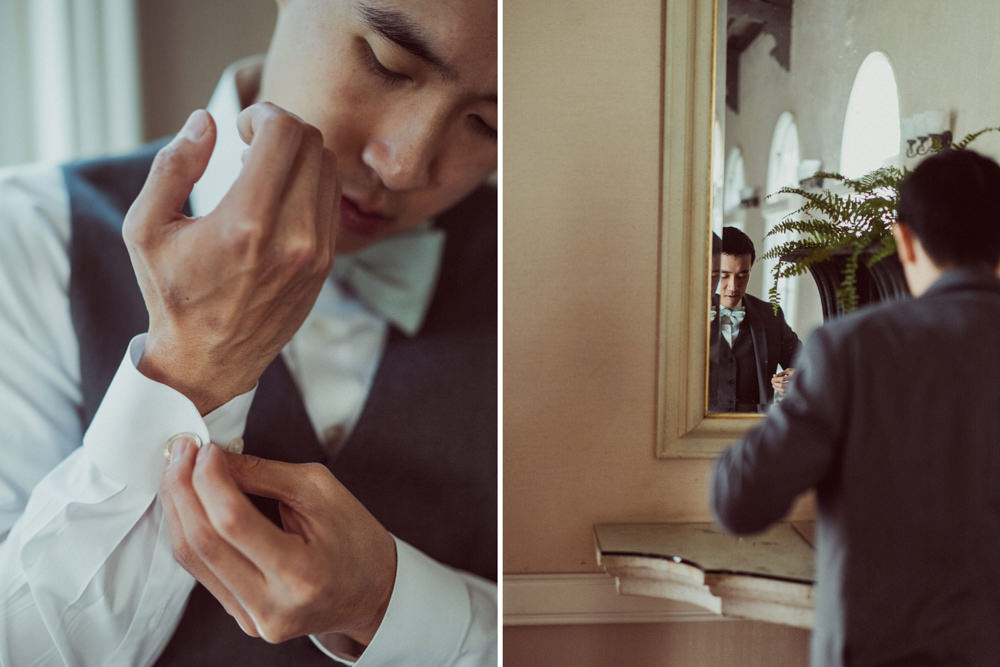 Groom getting ready at Piedmont Community Hall wedding