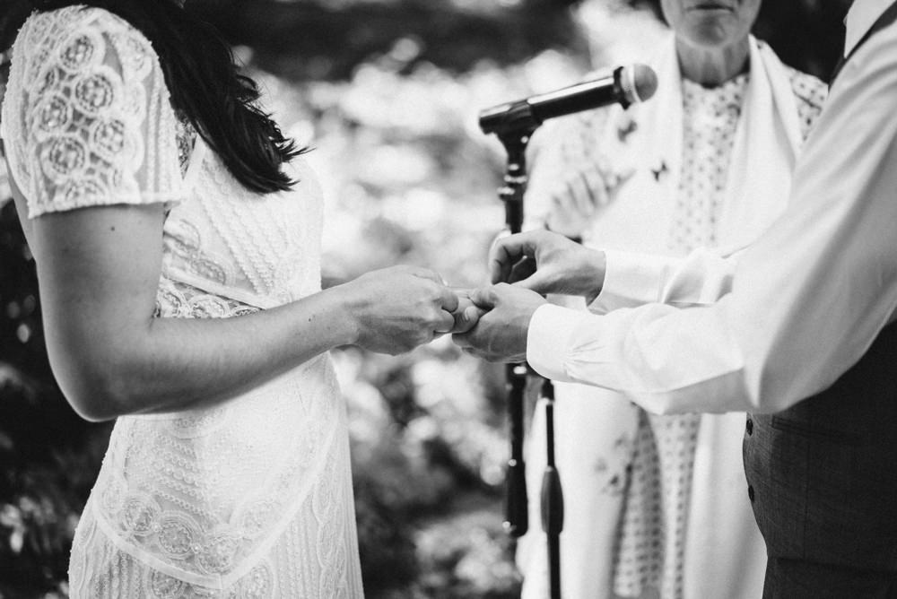 Black and white candid napa wedding ring ceremony photography