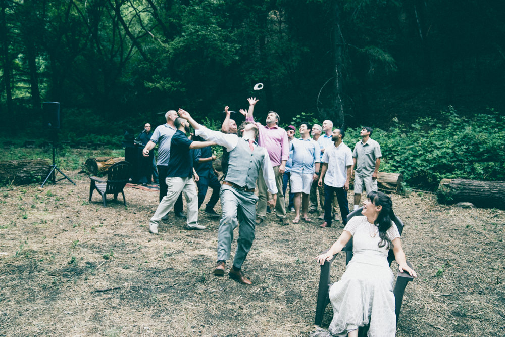 Napa winemakers garter toss wedding photography
