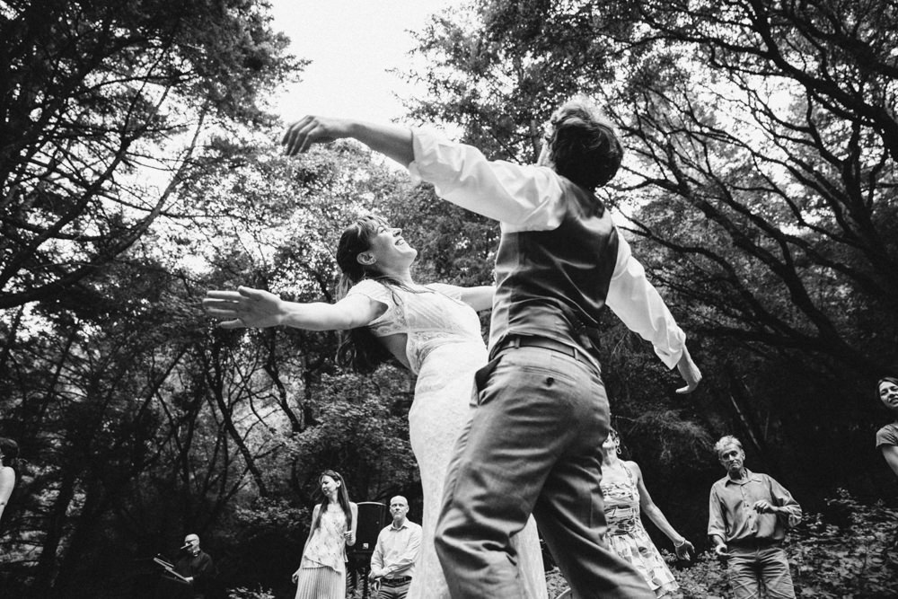 Crazy napa outdoor summer wedding black and white dancing