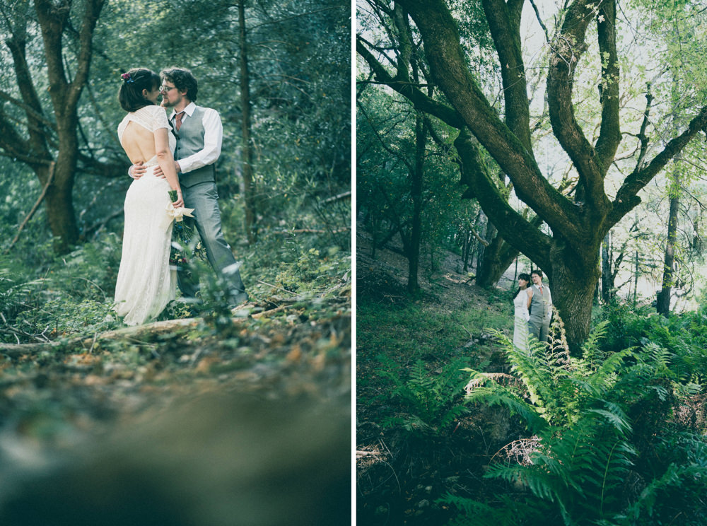 Napa woods themed wedding portrait