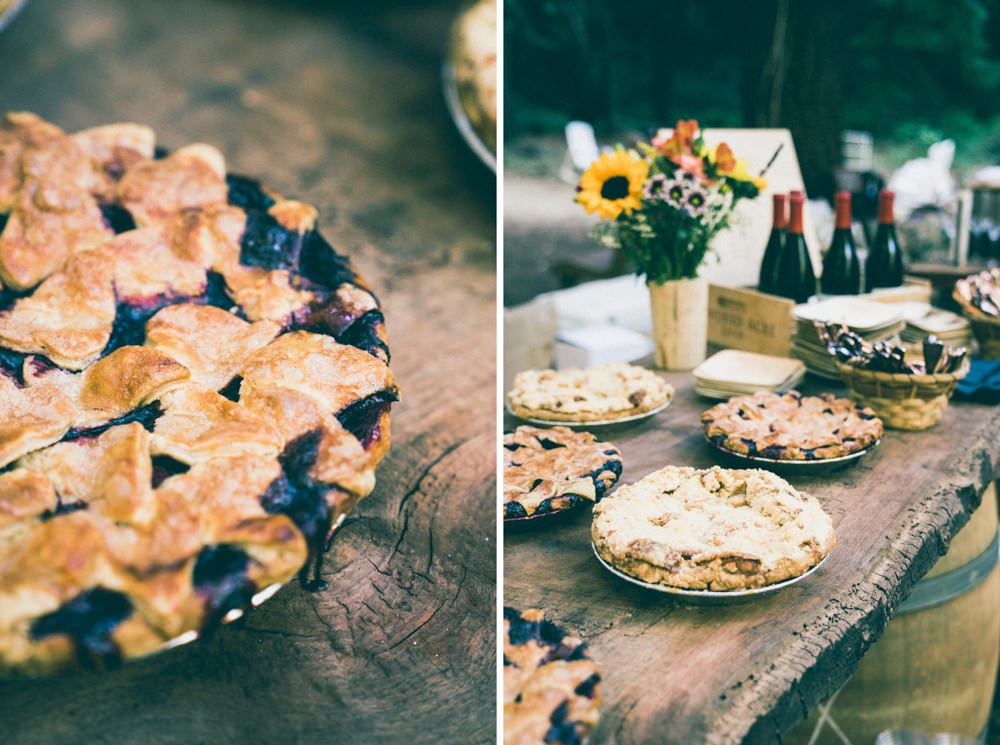 Freshly baked wedding pies on reclaimed wood table in napa wedding