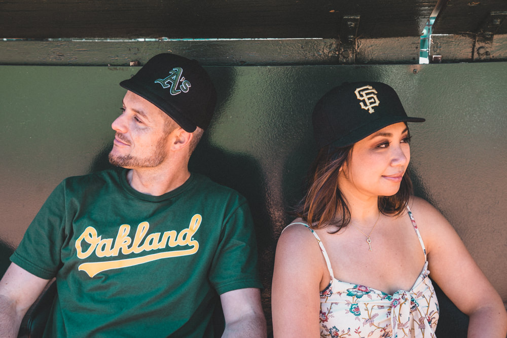 Giants vs A's rivalry engagement shoot
