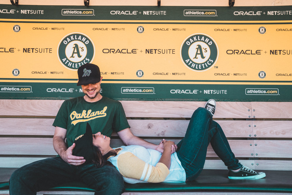 Engagement shoot in Oakland As Coliseum Oracle dugout