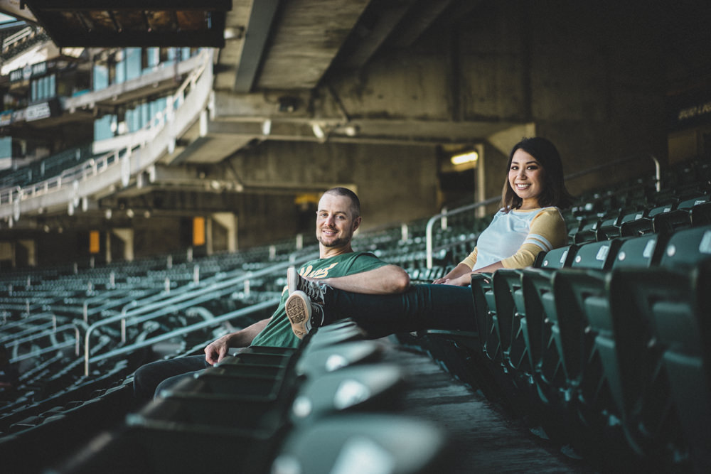 Engagement shoot at Oakland Coliseum stadium