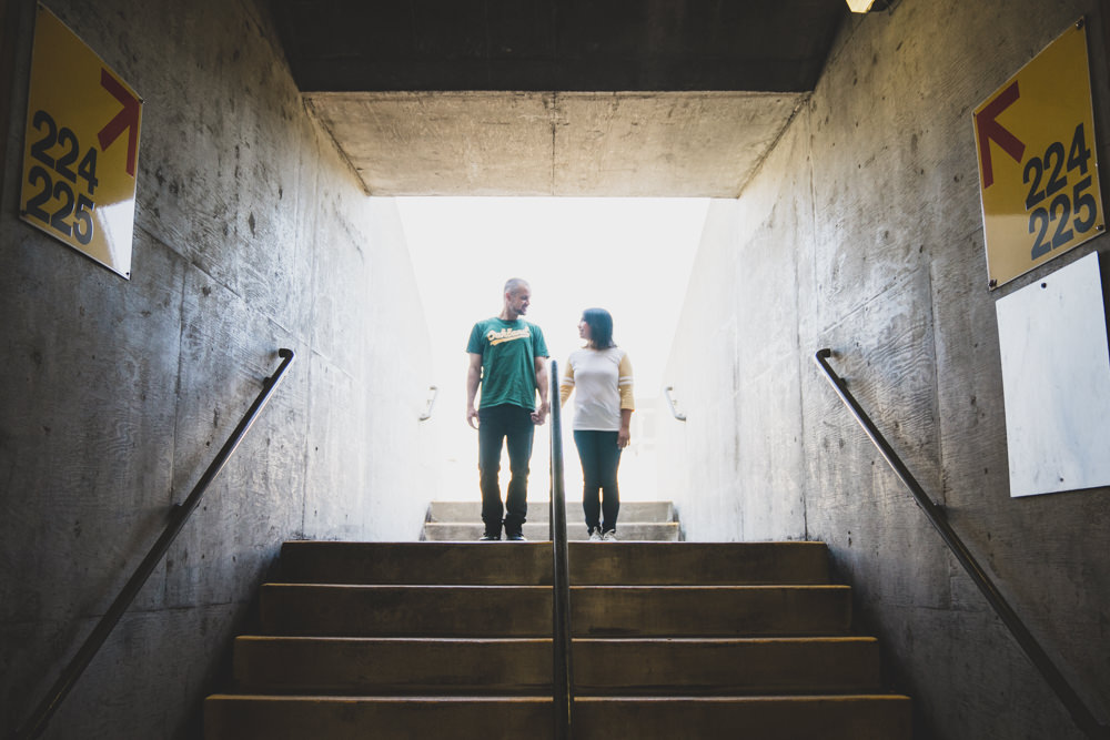 Creative oakland coliseum tunnel wedding engagement shoot