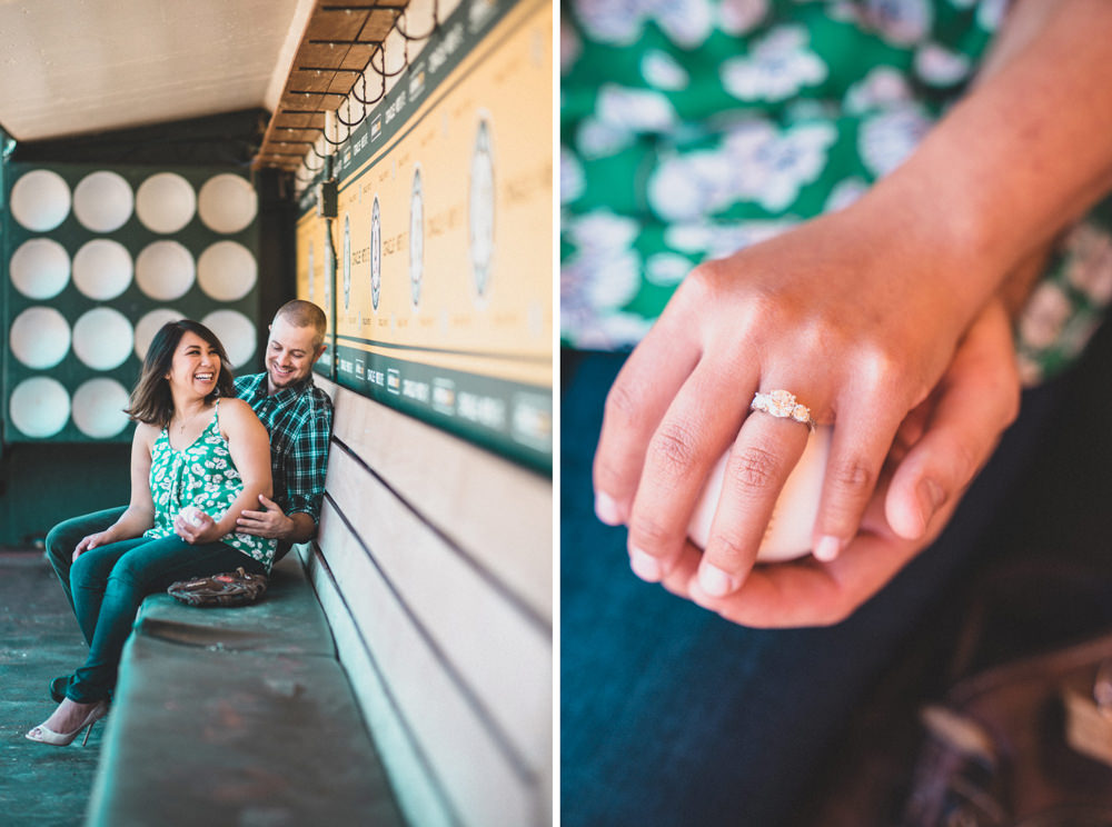 Book engagement shoot at Oakland Coliseum baseball stadium