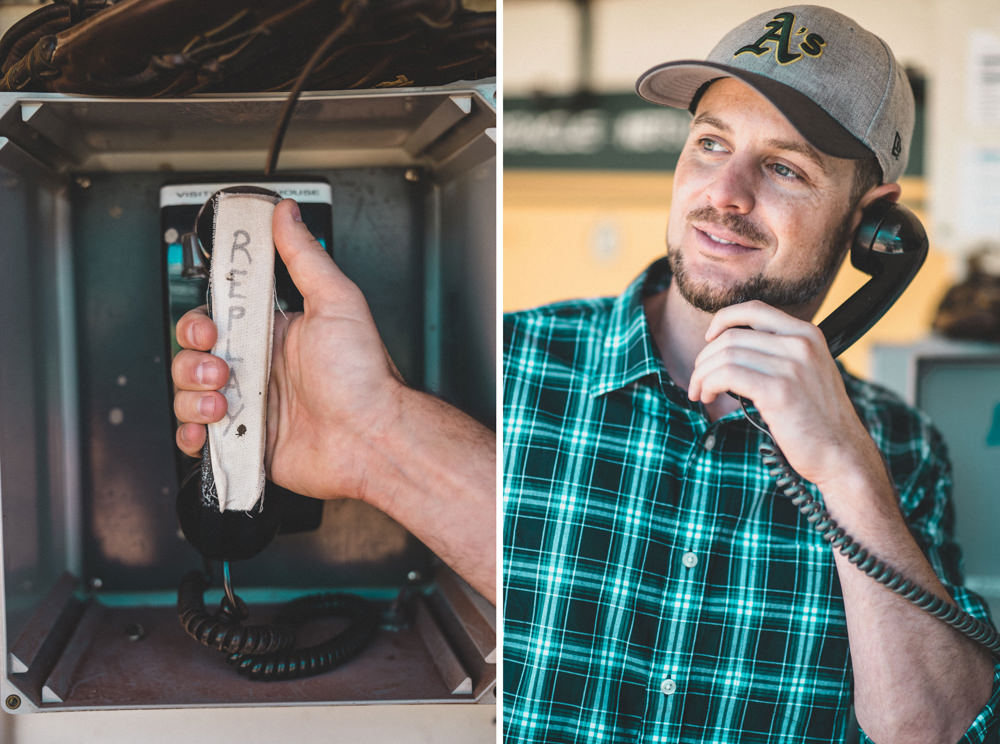 Funny engagement shoot dugout idea at Oakland coliseum