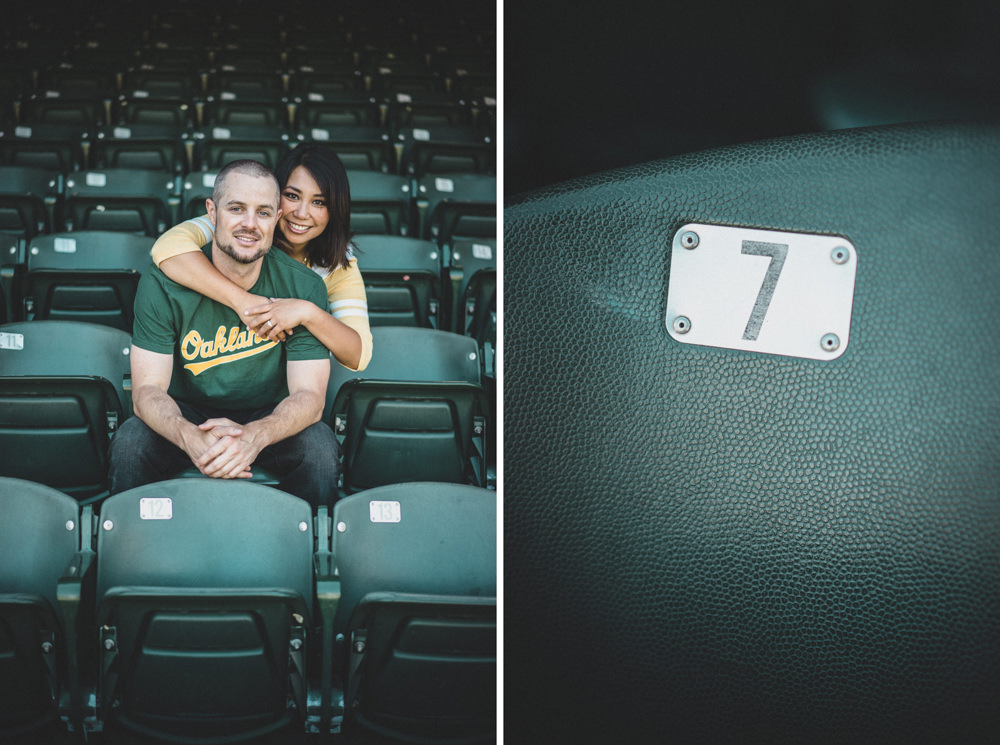 Baseball stadium engagement shoot idea at Oakland A's stadium