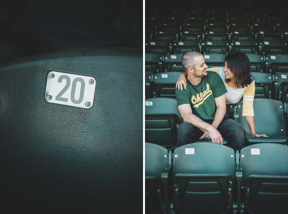 Alternative engagement shoot ideas at baseball stadium