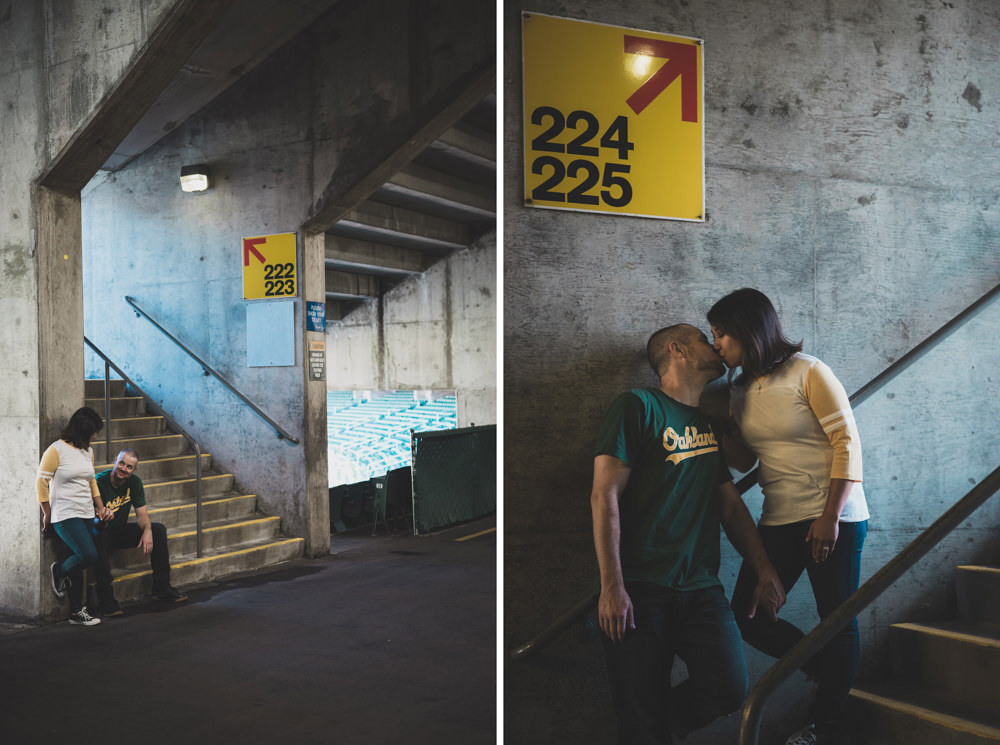 Oakland A's baseball stadium tunnel engagement shoot idea