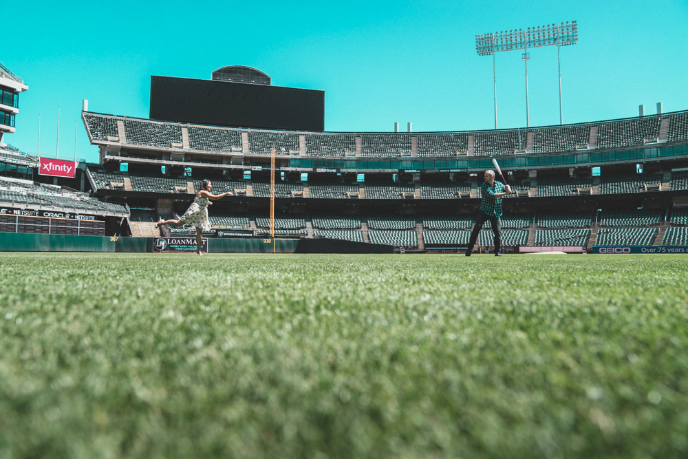 Creative engagement shoot at Oakland Coliseum baseball field