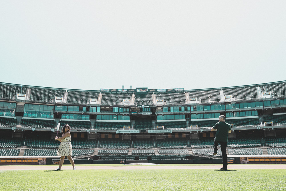 On field baseball stadium engagement shoot ideas