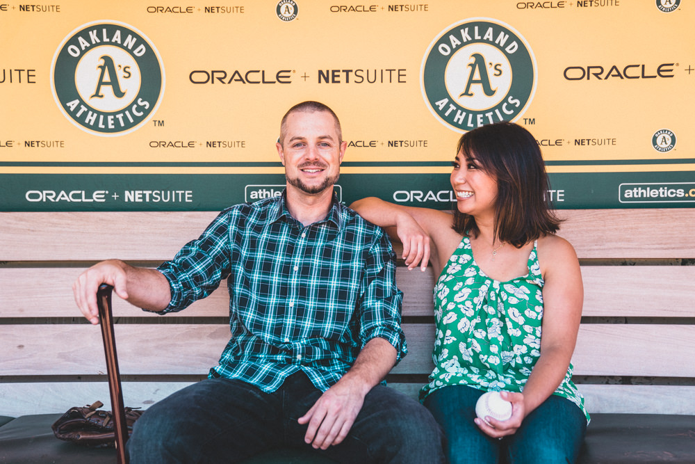 Cool Baseball Stadium Dugout engagement shoot idea