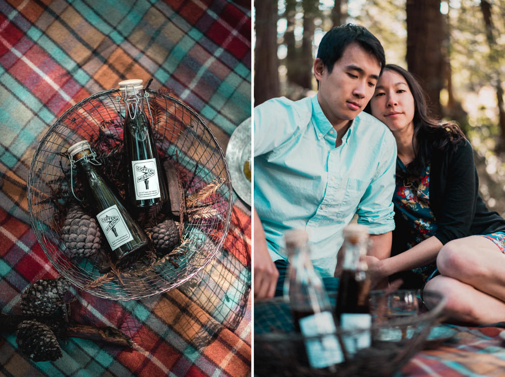 Coffee picnic engagement shoot in Golden Gate Park
