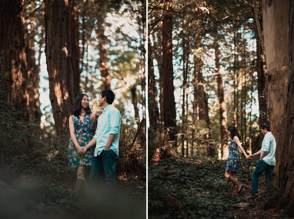 Couple walking during engagement shoot in Golden Gate Park