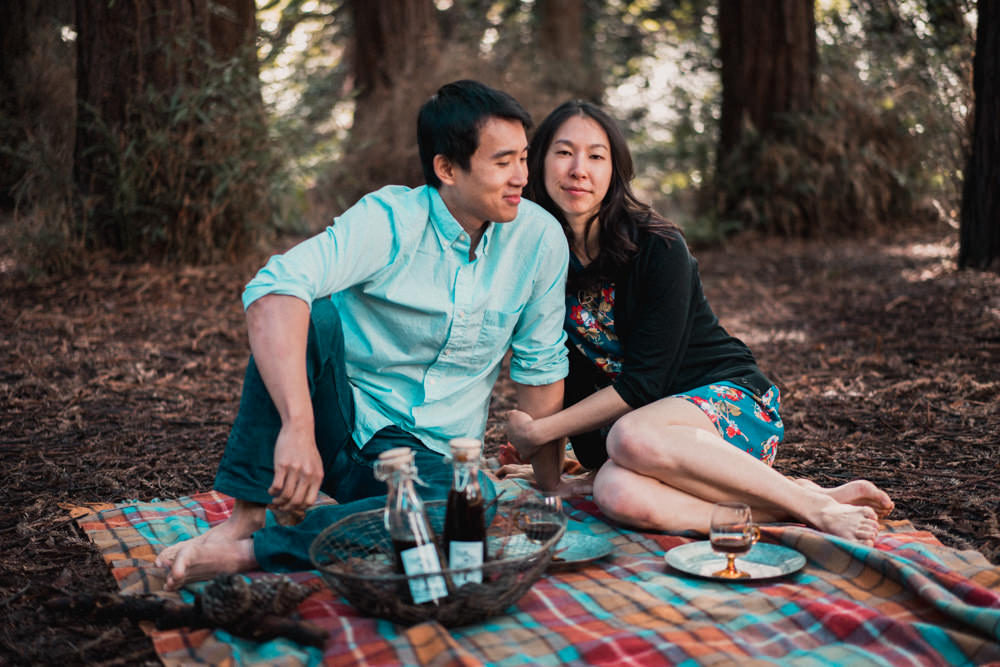Coffee picnic engagement shoot idea in Golden Gate Park