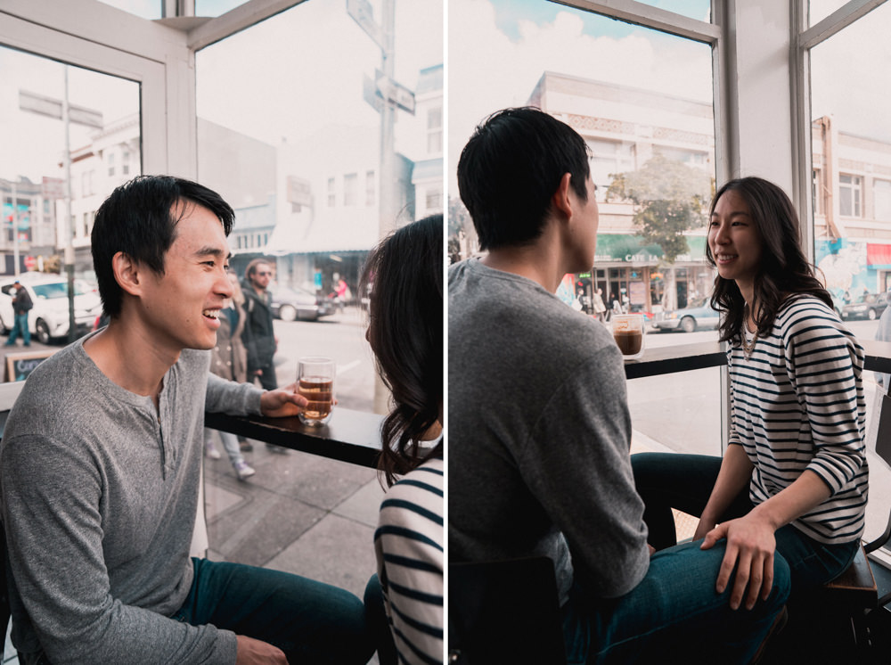 Couple having coffee shop engagement shoot at Mission Coffee in San Francisco