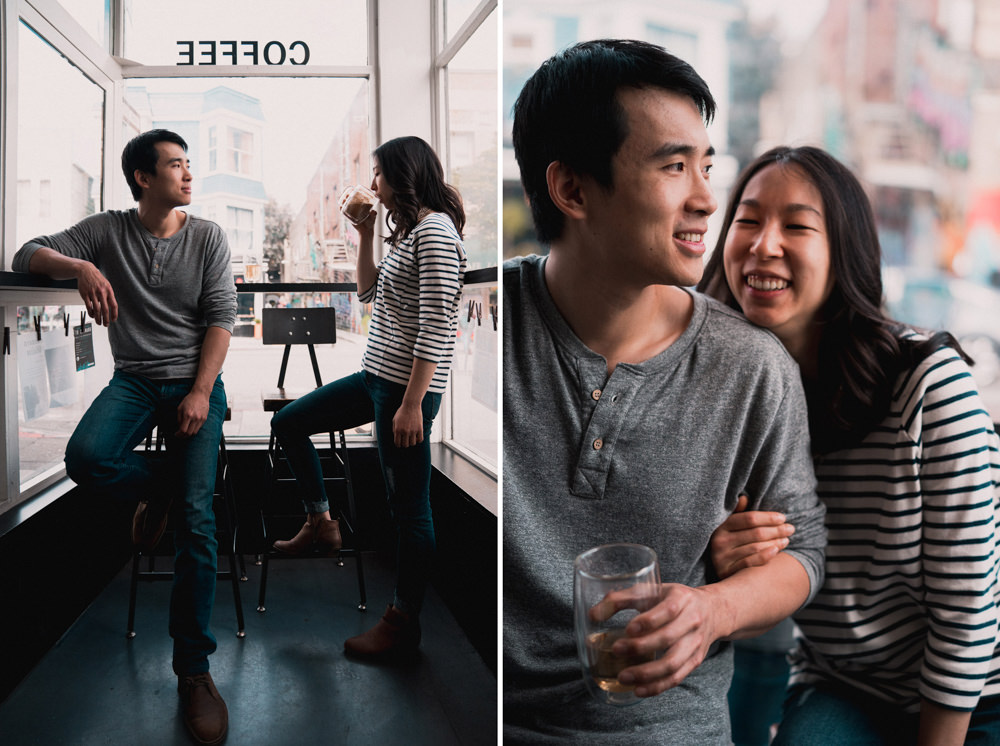 Couple's creative coffee shop engagement photoshoot in San Francisco