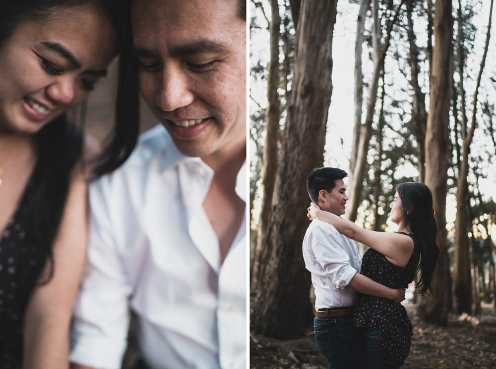 Couple embracing during engagement shoot at SF woodline.