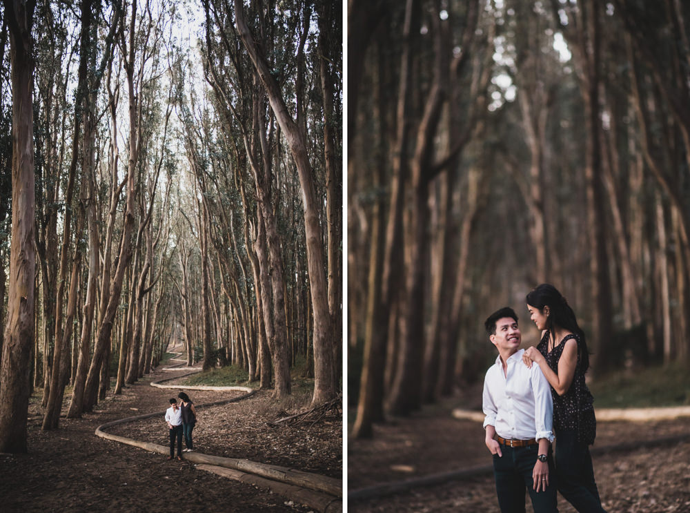 Engagement shoot at Andy Goldsworthy's Woodline in San Francisco