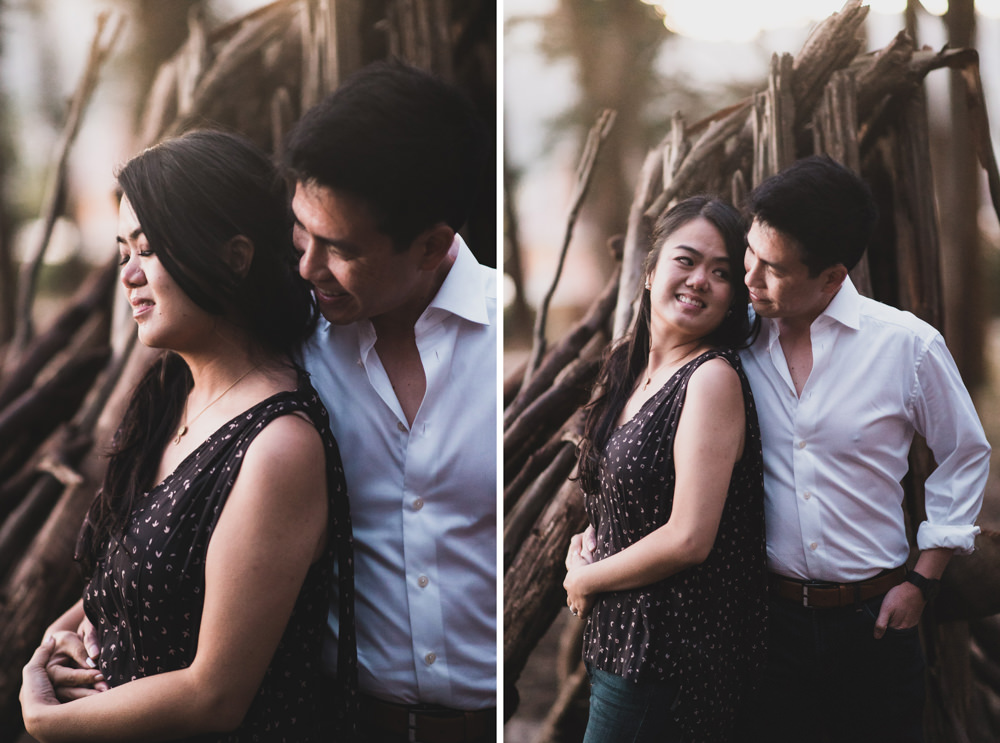 Couple's engagement shoot at with nature background in San Francisco