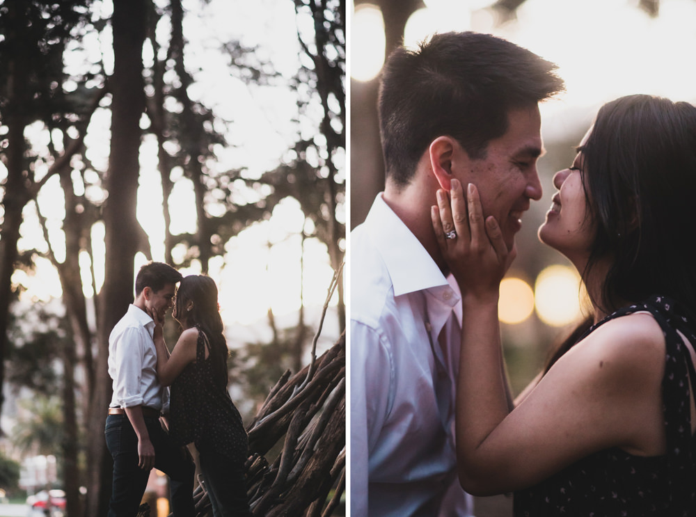 Couple's engagement shoot at Andy Goldsworthy's Woodline in San Francisco