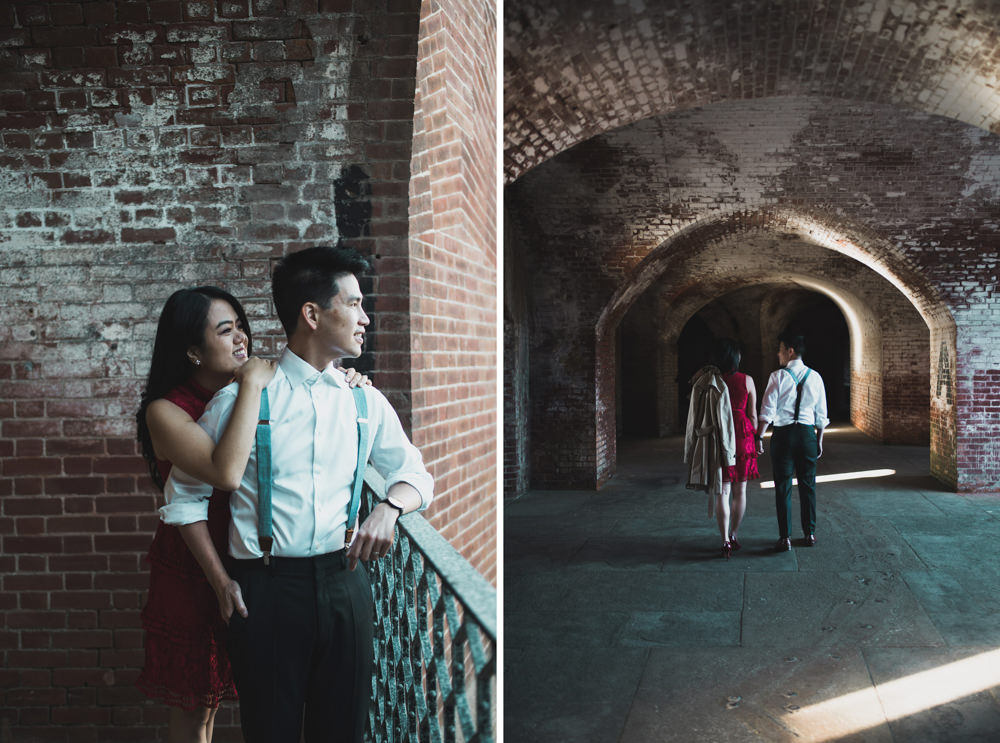 Couple posing during engagement shoot at Fort Point