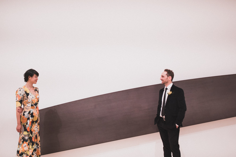 SF Moma wedding portrait in front of art work
