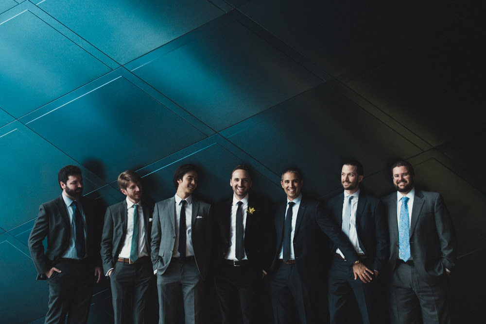 Funny groomsmen shot outside Jewish Contemporary Musem