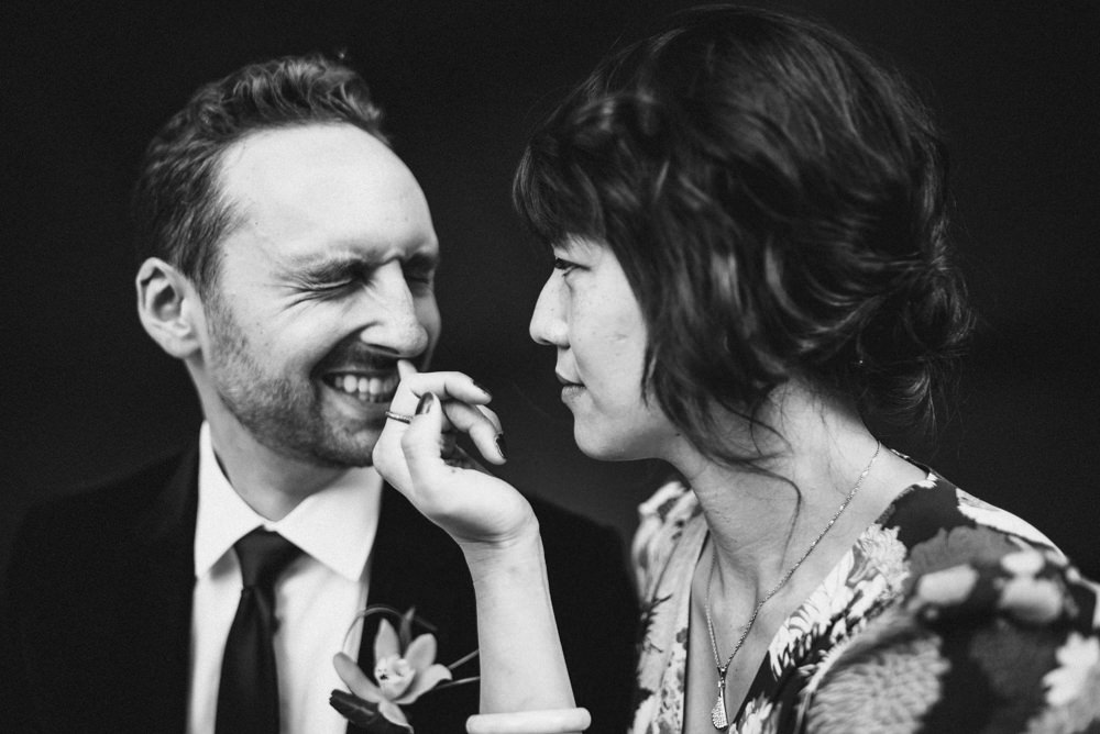 Black and white funny wedding shot in San Francisco
