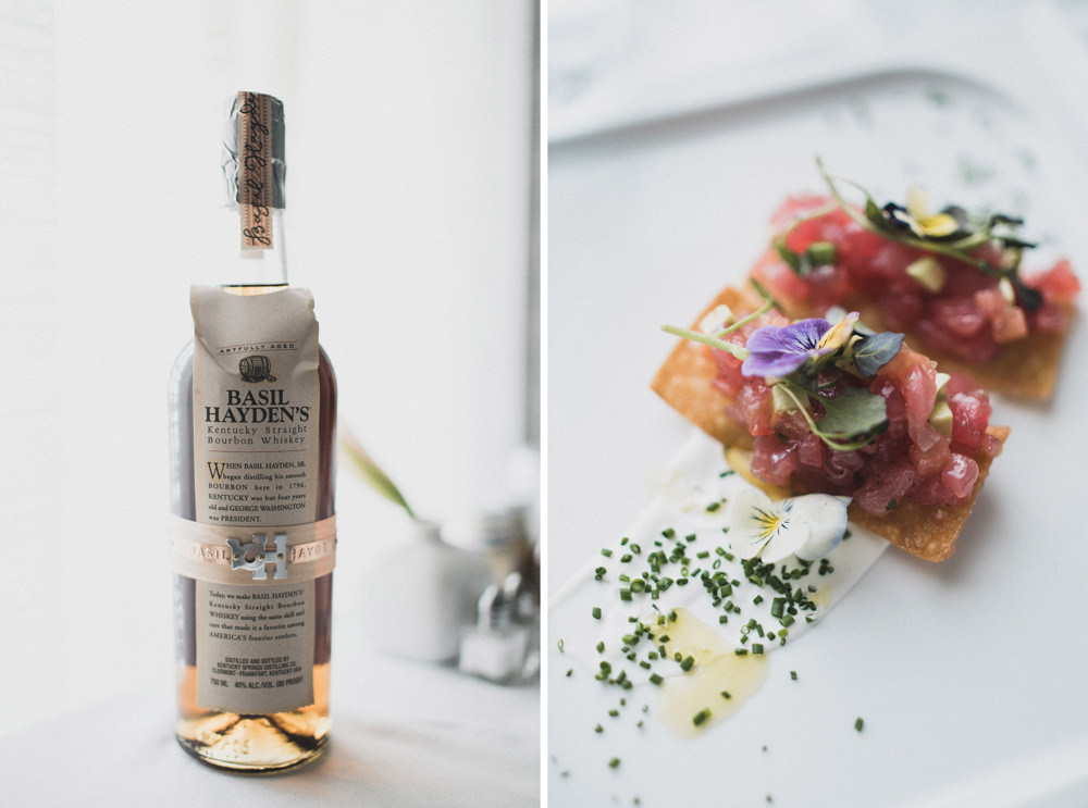 Basil Hayden Kentucky Bourbon Whiskey and Tuna Tartare with edible flowers