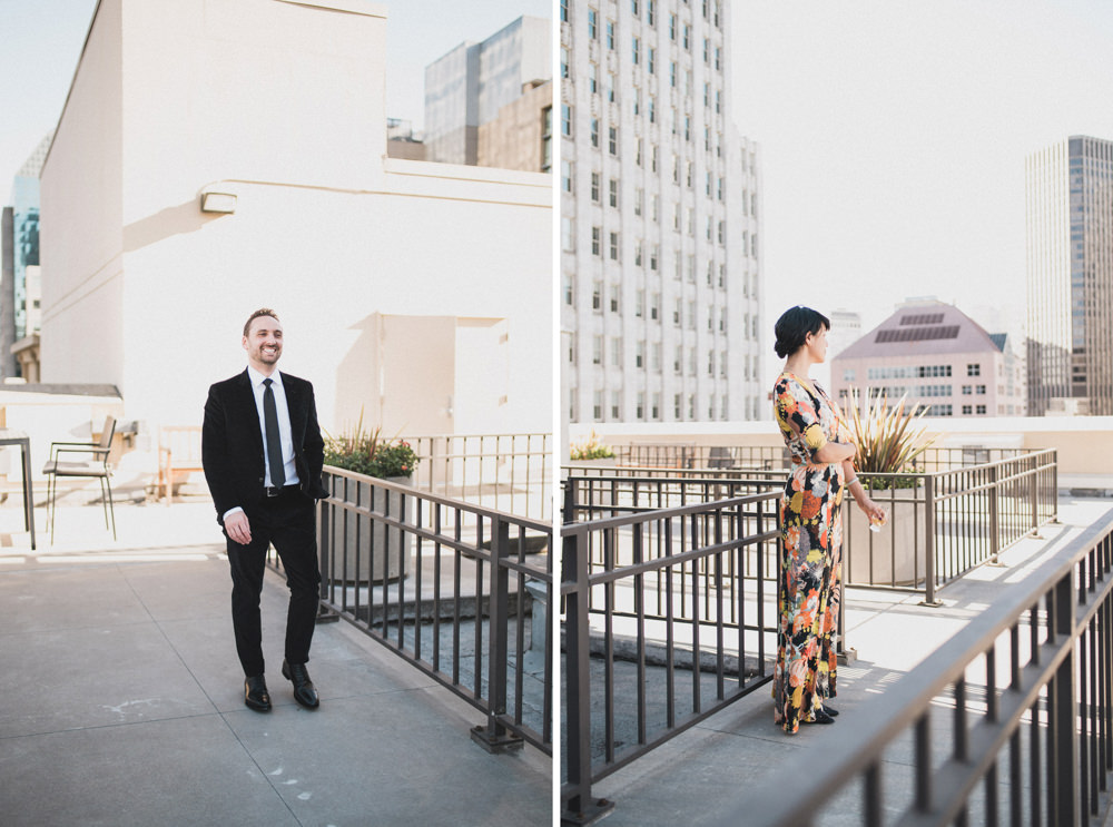 Couple's rooftop wedding first look location in San Francisco