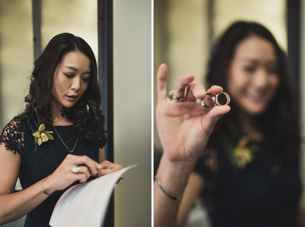 Bride's sister holding wedding rings at Mourad's SF