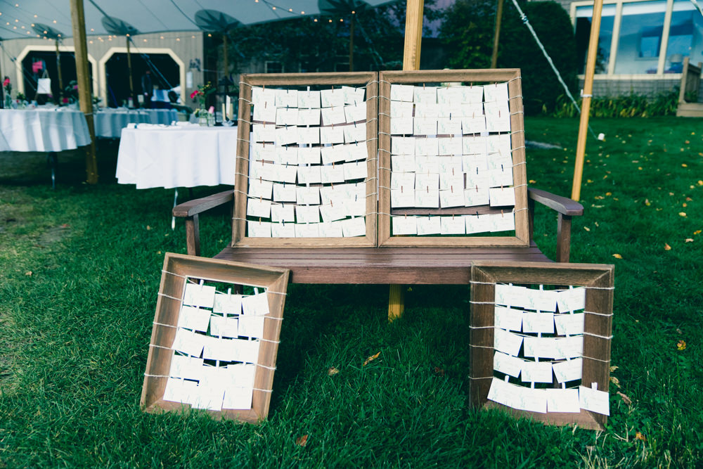Creative rustic seating chart idea with old picture wood picture frames
