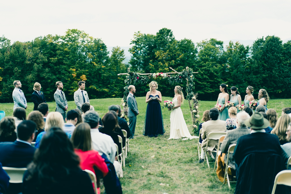 Maple syrup farm wedding venue ceremony in Vermont