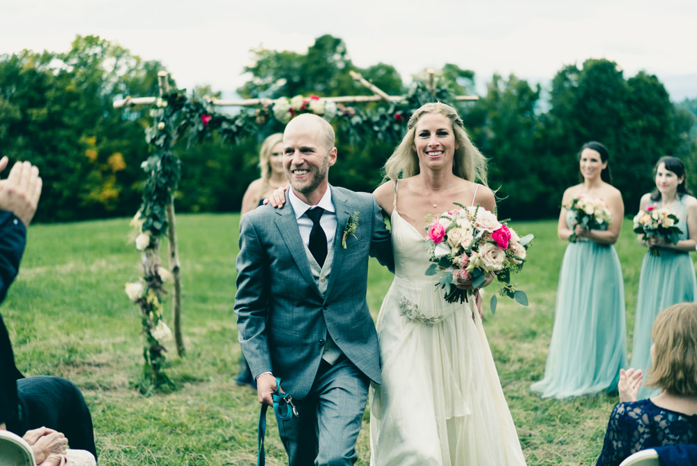 Vermont fall outdoor wedding ceremony on maple syrup farm