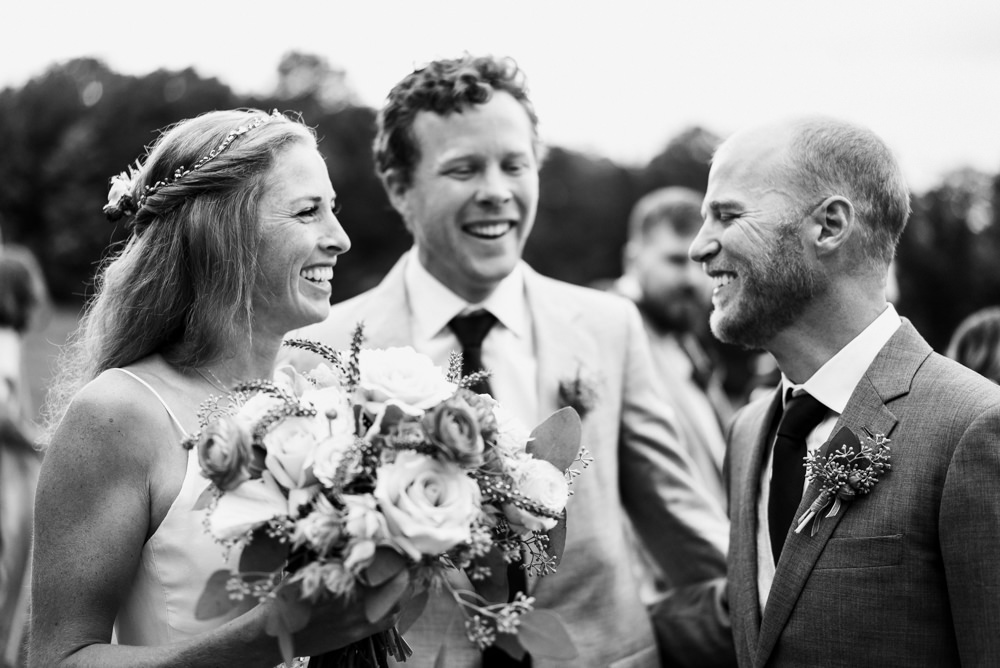 Black and white shot of Vermont outdoor wedding ceremony