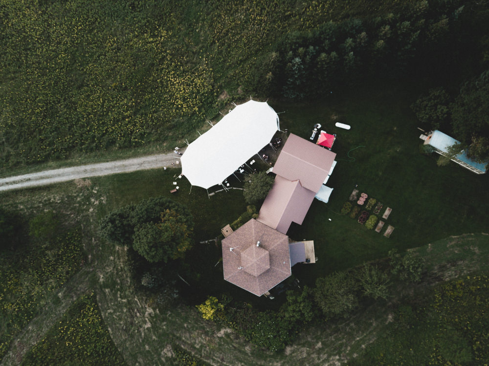 Drone shot of Vermont maple syrup farm wedding venue