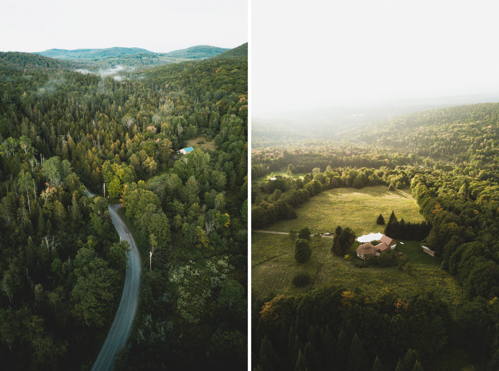Drone shot of Vermont wedding canopy tent