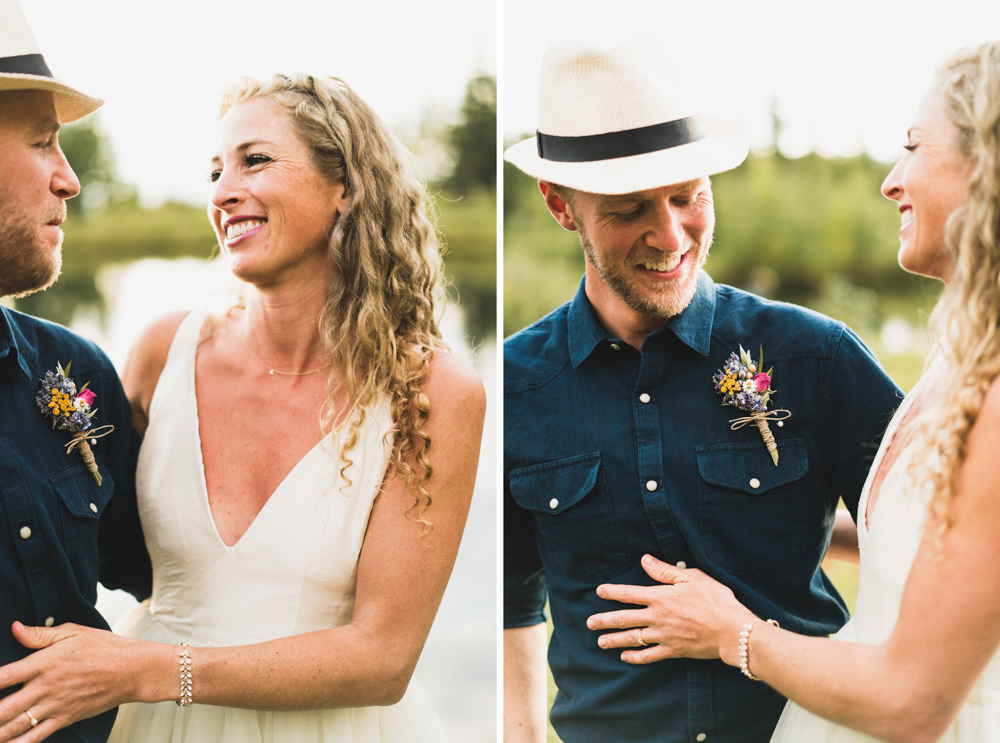 Bride and groom fall themed boutonniere and fedora